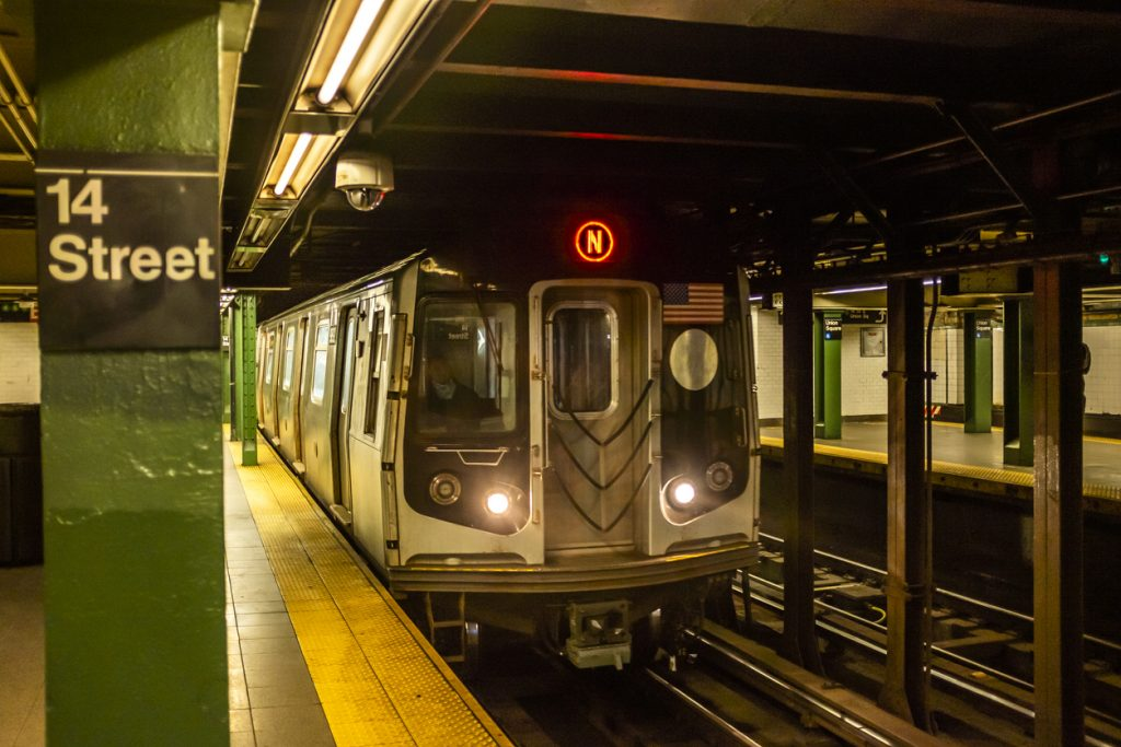 An NYC subway train at the station