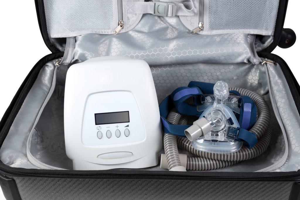 CPAP machine in a travel case