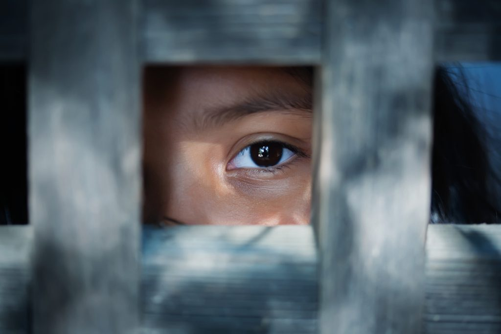 A child's eye looking through gaps in a wooden fence